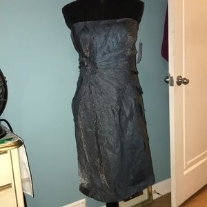 London Times layered silver blue strapless dress